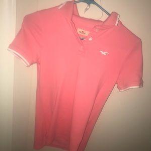 Hollister polo shirt coral peach